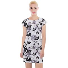 Floral Pattern Background Cap Sleeve Bodycon Dress by Sudhe