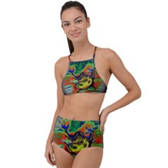 Abstract Transparent Background High Waist Tankini Set