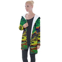 Abstract Transparent Background Longline Hooded Cardigan