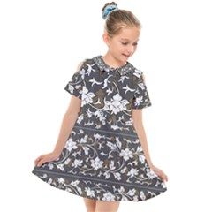 Floral Pattern Background Kids  Short Sleeve Shirt Dress by Sudhe