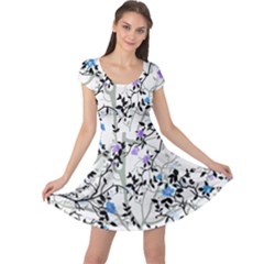 Floral Pattern Background Cap Sleeve Dress