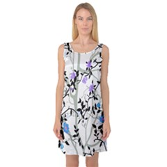 Floral Pattern Background Sleeveless Satin Nightdress