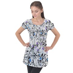 Floral Pattern Background Puff Sleeve Tunic Top