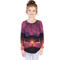 Flight Landscape Nature Sky Kids  Long Sleeve Tee