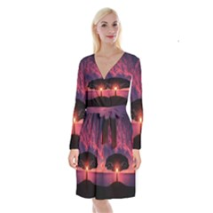 Flight Landscape Nature Sky Long Sleeve Velvet Front Wrap Dress