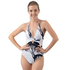 Silhouette Photo Of Trees Halter Cut Out One Piece Swimsuit