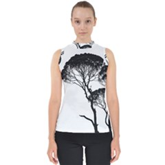 Silhouette Photo Of Trees Mock Neck Shell Top