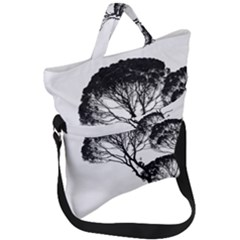 Silhouette Photo Of Trees Fold Over Handle Tote Bag