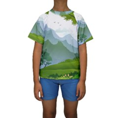 Forest Landscape Photography Illustration Kids  Short Sleeve Swimwear