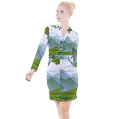 Forest Landscape Photography Illustration Button Long Sleeve Dress