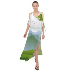 Forest Landscape Photography Illustration Maxi Chiffon Cover Up Dress