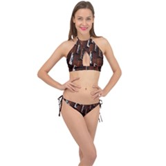 Abstract Architecture Building Business Cross Front Halter Bikini Set