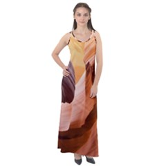 Light Landscape Nature Red Sleeveless Velour Maxi Dress