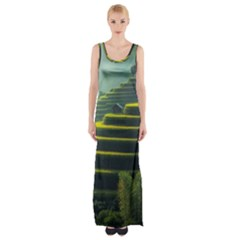 Scenic View Of Rice Paddy Maxi Thigh Split Dress