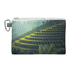 Scenic View Of Rice Paddy Canvas Cosmetic Bag (large)