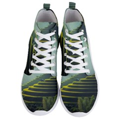 Scenic View Of Rice Paddy Men s Lightweight High Top Sneakers