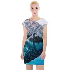 Daylight Forest Glossy Lake Cap Sleeve Bodycon Dress