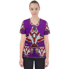 Toy Plane Outer Space Launching Women s V Neck Scrub Top