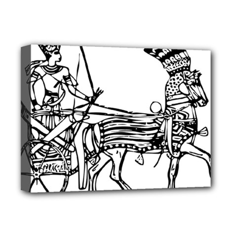 Line Art Drawing Ancient Chariot Deluxe Canvas 16  X 12  (stretched)  by Sudhe