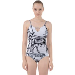 Line Art Drawing Ancient Chariot Cut Out Top Tankini Set