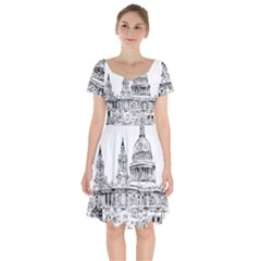 Line Art Architecture Church Short Sleeve Bardot Dress