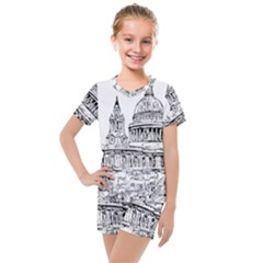 Line Art Architecture Church Kids  Mesh Tee And Shorts Set