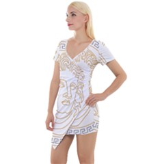 Apollo Design Draw Vector Nib Short Sleeve Asymmetric Mini Dress