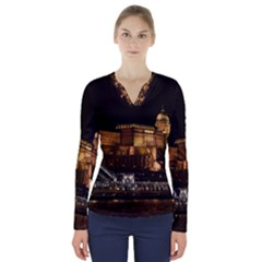 Budapest Buda Castle Building Scape V Neck Long Sleeve Top