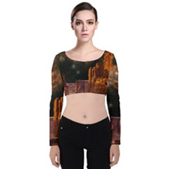 Geology Sand Stone Canyon Velvet Long Sleeve Crop Top