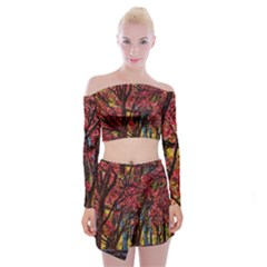 Autumn Colorful Nature Trees Off Shoulder Top With Mini Skirt Set