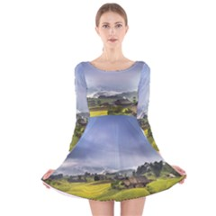 Vietnam Terraces Rice Silk Long Sleeve Velvet Skater Dress