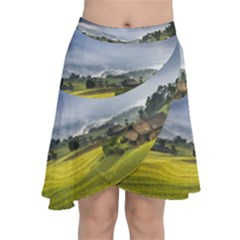 Vietnam Terraces Rice Silk Chiffon Wrap Front Skirt