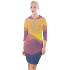 Image Sunset Landscape Graphics Quarter Sleeve Hood Bodycon Dress by Sudhe