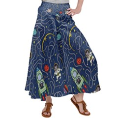 Cat Cosmos Cosmonaut Rocket Satin Palazzo Pants by Sudhe