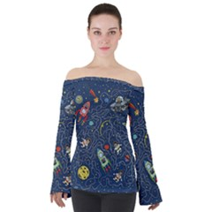Cat Cosmos Cosmonaut Rocket Off Shoulder Long Sleeve Top by Sudhe