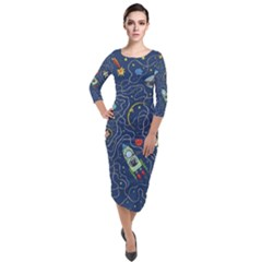 Cat Cosmos Cosmonaut Rocket Quarter Sleeve Midi Velour Bodycon Dress by Sudhe