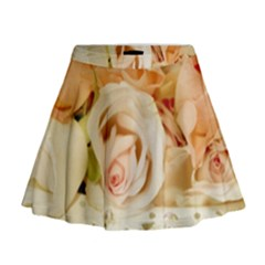 Roses Plate Romantic Blossom Bloom Mini Flare Skirt