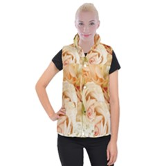 Roses Plate Romantic Blossom Bloom Women s Button Up Vest