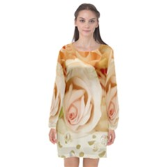 Roses Plate Romantic Blossom Bloom Long Sleeve Chiffon Shift Dress
