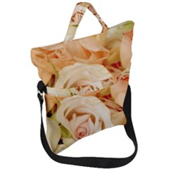 Roses Plate Romantic Blossom Bloom Fold Over Handle Tote Bag