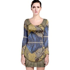 Mosaic Painting Glass Decoration Long Sleeve Velvet Bodycon Dress