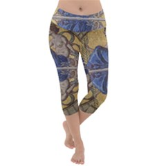 Mosaic Painting Glass Decoration Lightweight Velour Capri Yoga Leggings