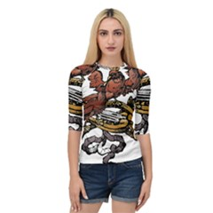 Transparent Background Bird Quarter Sleeve Raglan Tee by Sudhe