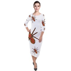 Nature Insect Natural Wildlife Quarter Sleeve Midi Velour Bodycon Dress