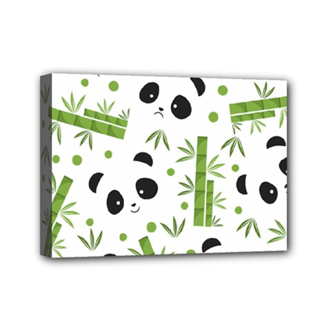 Giant Panda Bear Bamboo Icon Green Bamboo Mini Canvas 7  X 5  (stretched)