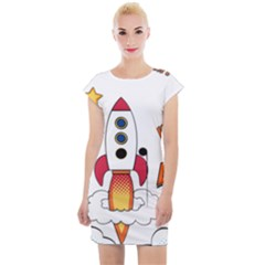 Rocket Cartoon Cap Sleeve Bodycon Dress