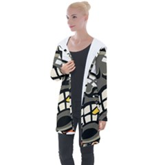 Smoking Cartoon Evil Bomb Cartoon Longline Hooded Cardigan