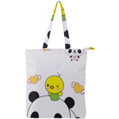 Giant Panda Red Panda Cartoon Drawing Double Zip Up Tote Bag