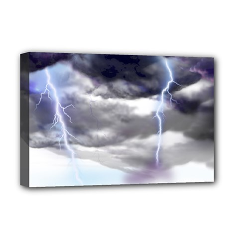 Thunder And Lightning Weather Clouds Painted Cartoon Deluxe Canvas 18  X 12  (stretched)