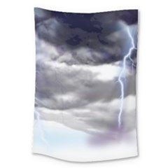 Thunder And Lightning Weather Clouds Painted Cartoon Large Tapestry